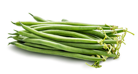 Green beans isolated on a white background. Clipping path