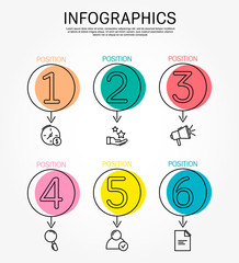 Modern and simple vector illustration. Six circles infographic template elements, sectors and percentages with icons. Designed for business, presentations, web design, 6 step diagrams.