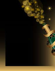 Christmas and New Year background with champagne bottle covered by ribbon with golden glitter. Vector illustration.