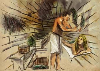 Banya. Sauna. An hand drawn illustration. Freehand drawing, painting.