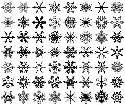 Snowflakes Set - Practical and Stylish Fakes for Graphics, Designers and Home Use, Vector Illustration