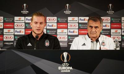 Besiktas goal keeper Loris Karius and coach Senol Gunes attend a press conference at Malmo Stadion, in Malmo