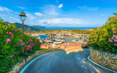 View of harbor and village Porto Rotondo, Sardinia island, Italy. Wall mural