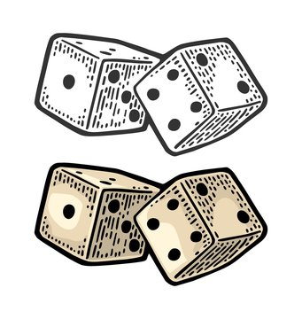Two white dice. Vintage color vector engraving illustration