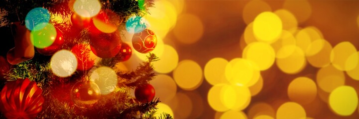 Composite image of defocused of christmas tree lights and