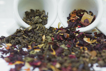 healthy herbal tea and coffee drinks and beverages in ceramic cups.