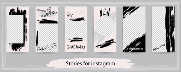 Trendy editable templates for instagram stories, vector illustration.