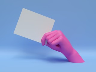 3d render, pink hand holding blank card, isolated on blue, abstract fashion background, shop display, mannequin body part, show, presentation