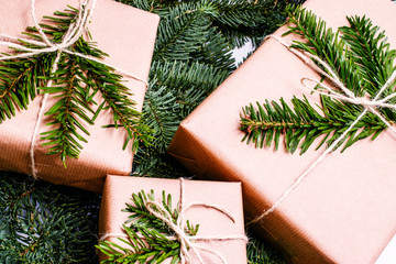 christmas gifts. Xmas gifts on white background. christmas presents with Fir tree branches.