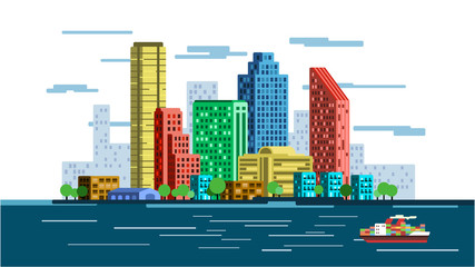 Vector illustration of waterfront city skyline