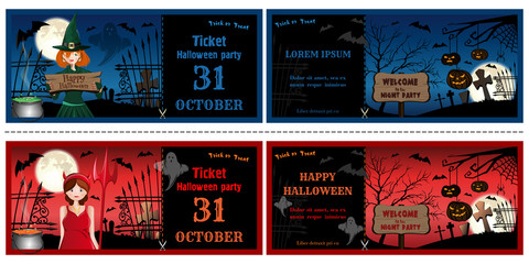 Halloween invitations cards set face and turnover. Halloween leaflets with girls in Halloween costumes. Vector illustration