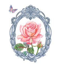 Pink rose in silver oval baroque frame, watercolor painting on white background, isolated.