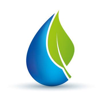 Simbolo goccia d'acqua con foglia ecologica