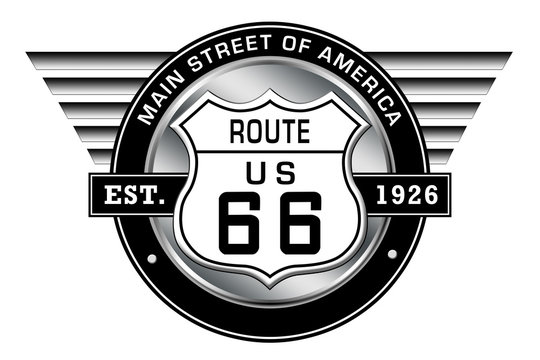 Route 66 - Main Street of America - Logo with retro style wings
