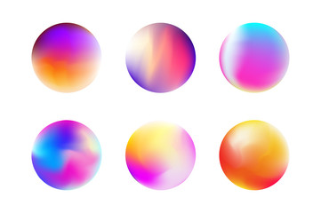 Set gradient colorful sphere in trendy style