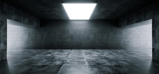 Empty Elegant Modern Grunge Dark Reflections Concrete Underground Tunnel Room With Bright White Lights Background Wallpaper 3D Rendering
