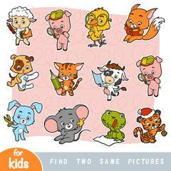 Find two the same pictures, education game, Set of cartoon cute animals