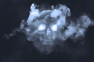 Skull and fog Illustration on a dark background.