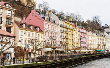 Historic city center with river of the spa town Karlovy Vary. Czech republic
