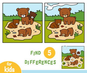 Find differences, game for children, Four bears