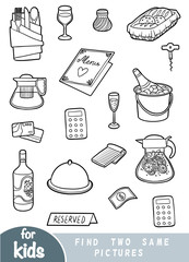 Find two the same pictures, education game for children, Set of objects for a restaurant