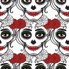 Seamless pattern. Catrina woman with make up of sugar skull. Dia de los muertos. Mexican Day of the dead. Vector illustration hand drawing