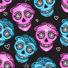Calavera sign Dia de los muertos. Mexican Day of the dead. Seamless pattern. Vector hand darwing illustration woman and man