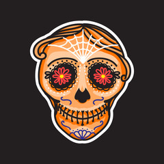Calavera sign Dia de los muertos. Mexican Day of the dead. Vector hand drawing illustration man sticker. Orange color