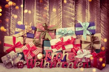 weihnachten geschenke bokeh Card