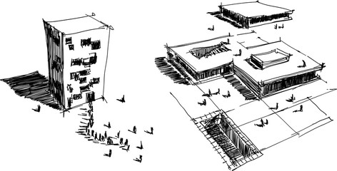 two hand drawn architectectural sketches of a modern abstract architecture with people around