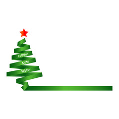 Silhouette of the green Christmas tree and the inscription happy New year