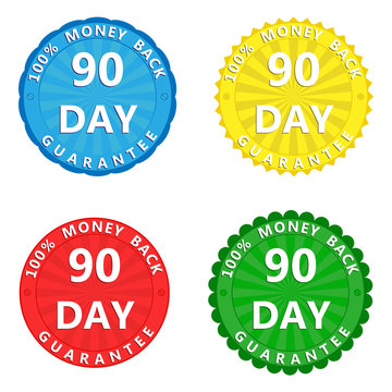 A set of multi-colored stickers with the inscription 100 percent money back guarantee 90 days