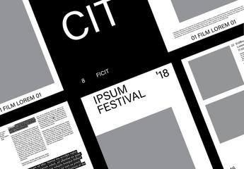Schwarz-Weiß-Veranstaltungskataloglayout