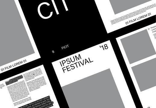 Layout catalogo evento bianco e nero