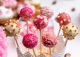 Cake pops, beautiful decorated sweet for party