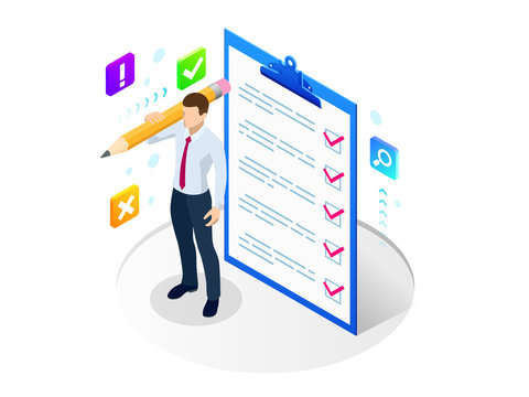 Isometric businessman with checklist and to do list. Clipboard with a checklist. Project management, planning and keeping score of the completed tasks concept.