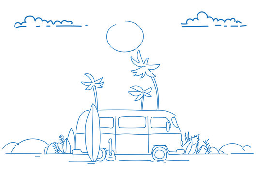 surf bus sunset tropical beach retro surfing vintage summer vacation greeting card horizontal poster sketch doodle hand drawn vector illustration