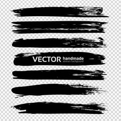 Textured long abstract black smears set isolated on imitation transparent background