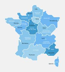Carte de France, des régions et des principales villes