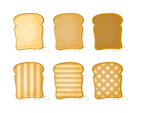 White bread, Set of 6 slices toast bread, vector illustration isolated on a white background. Bakery product in cartoon style.
