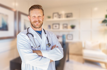 Handsome Young Adult Male Doctor With Beard Inside Office Wall mural