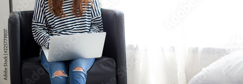 Baner Website Young Asian Woman Using Laptop Computer For Leisure On
