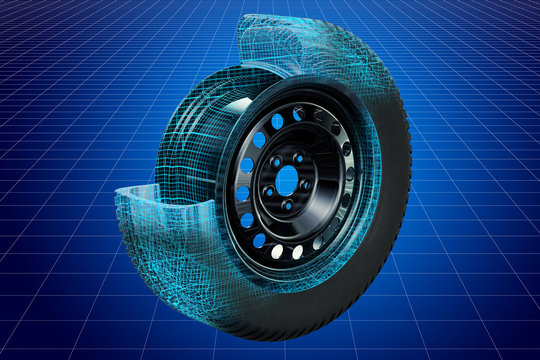 Visualization 3d cad model of car wheel, blueprint. 3D rendering