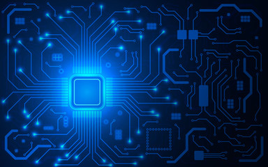 CPU chip and circuit board. Blue microprocessor background. Computer motherboard. Bright connections. Abstract light technological backdrop. Trendy vector illustration