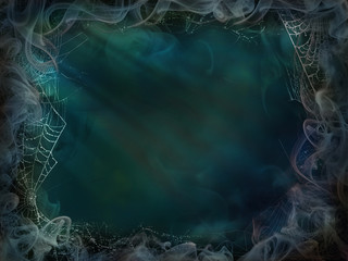 Magical background smoke and spider web for Halloween green blue light wall