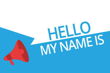Conceptual hand writing showing Hello My Name Is. Business photo text introducing yourself to new people workers as Presentation.