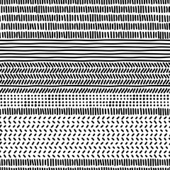 Foto auf AluDibond Boho-Stil Simple black and white doodle strokes dots and triangles geometric striped seamless patterns set, vector