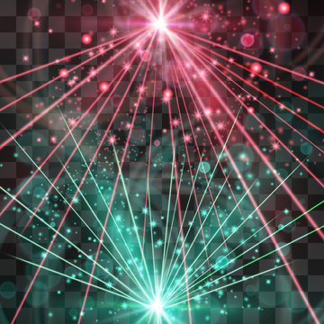 Strobing laser lights vector background. Dancing, club music event banner design, galactic illumination style. Technology, retro theme energy flashes, bright beams, futuristic illumination.