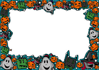 Halloween frame with witches, zombies, ghosts, cats and pumpkins in a comical cartoon style for greetings, posters, ads, sales, coupons, checks, certificates, invitations, flyers, cards