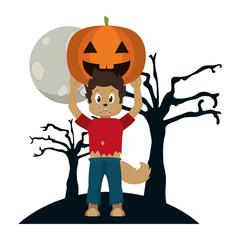 Kid and halloween cartoon
